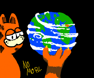 cat has the world in it's paws