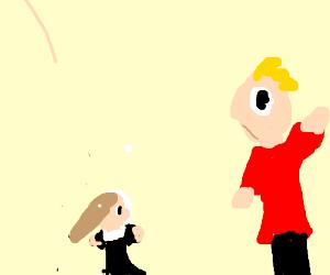 man has a tiny maid
