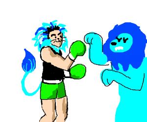 Little Mac meets a blue lion
