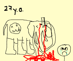 Suicidal elephant with knife makes kid cry