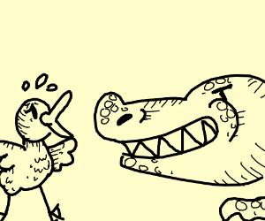 Baby Duck afraid of evil Crocodile