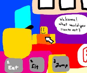 Sit Roblox Roblox Guy Eating Roblox Guy Drawception