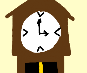 Clock with arrow pointing to the 3 (it's 8:30)