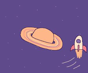 A rocket flying near Saturn