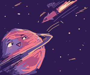 Spaceship orbiting Saturn