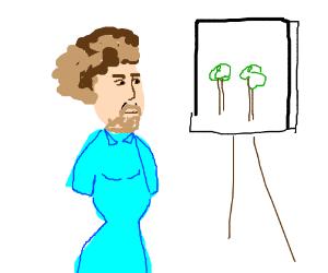 sexy boy Bob Ross paints happy little trees