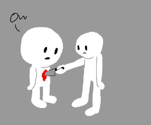 Guy w/ huge head getting stabbed by normal guy
