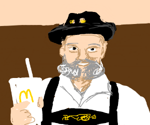 german man drinking from a macdonalds cup