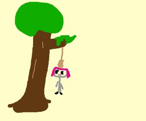 sayori hanging out at a tree