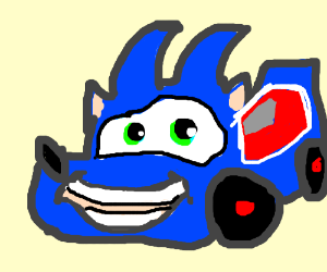 Sonic the hedgehog but as a car