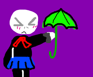 chibi Voldemort with green umbrella out of wan