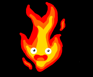 A fire with a silly face on it