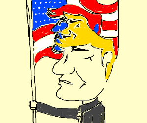 Trump with trump flag and his hair is trump