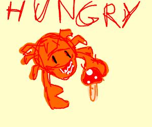 I hope that's a crab eating a mushroom...