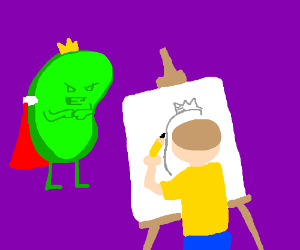 Morty draws a portrait of a king.
