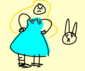 alice is angry at the white rabbit