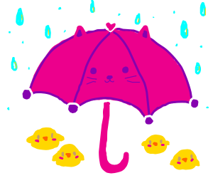 Cat umbrella protecting lil' chicks from rain