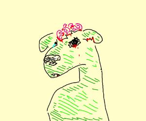 sad zombie dog