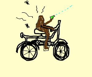 poop on wheels with water gun