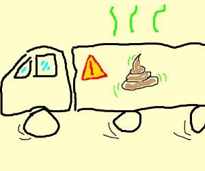 truck transporting radioactive poop