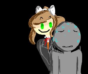 Monika eerily looks at you over her shoulder