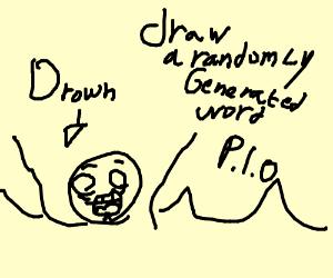 Draw a word from a random word generator PIO - Drawception