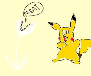 a white carnivorous plant and creepy pikachu
