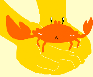Yellow man holding a crab in his hand