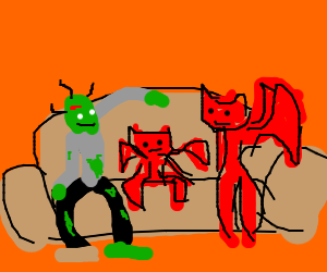 Lovely demon zombie family