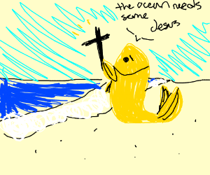 Goldfish carries a cross back to the water