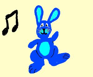 Blue bunny is dancing
