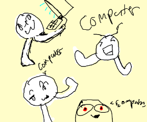 Man with only a head and legs saying computer