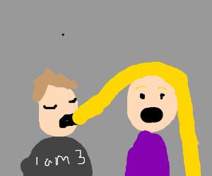 Creepy child eats woman's hair