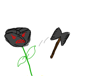 Angry black rose throws an axe