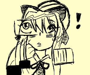 monika(?) surprised at missing tile