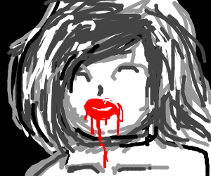 woman with drippy lipstick