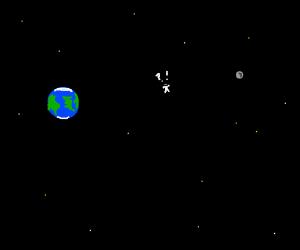 astronaut lost in space between earth&moon