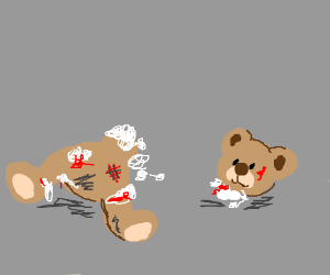 a brutally torn apart and bloody teddy bear