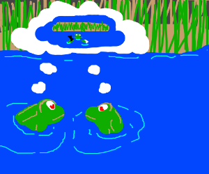 two frogs in love thinking bout their wedding