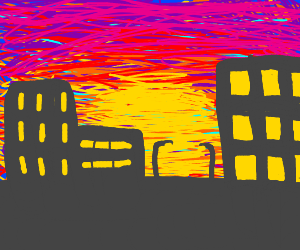 Beautiful sunset behind a city scape