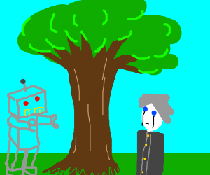 Robots look at a tree