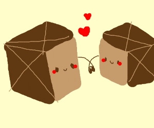smiling boxes holding hands