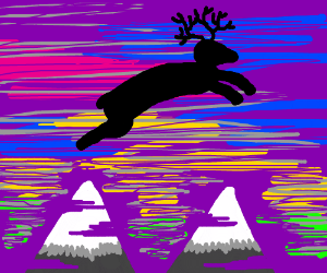 Deer jumping over Mountains