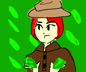 a detective have lettuce in her hands