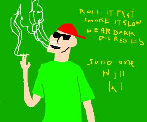 sunglasses guy smokes