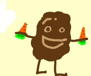 Poop holding 2 carrots
