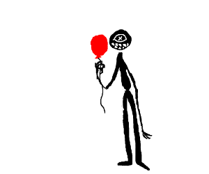 A big tall guy hollding a baloon