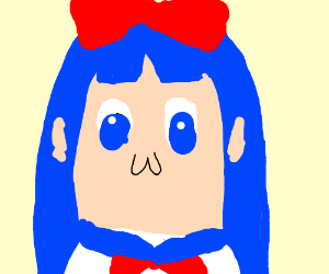 The girl with blue hairs in Pop Team Epic