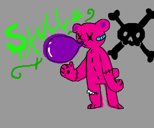 Pink teddy bear blowing a bubble of slime.