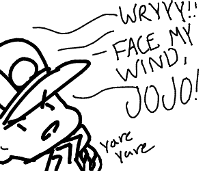 Dio and JoJo being blown by the wind